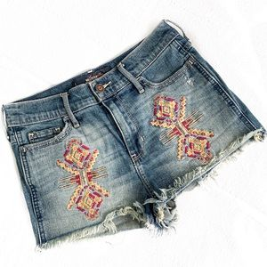 Hollister Embroidered Denim cutoffs